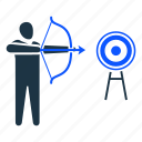 aim, aiming, archery, goal, target icon