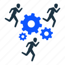 business, gear, settings, team, teamwork, work, working icon