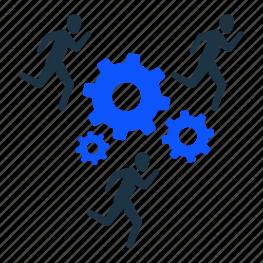 business, gear, settings, team, teamwork, work, working icon