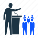 audience, conference, motivation, people, podium, speaker, speech icon