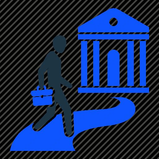 bank account, businessman, funds, loan, man, savings icon