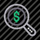 audit, dollar, finance, money, search icon