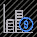 chart, dollar, finance, graph, statistics
