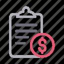 bill, clipboard, document, invoice, report icon