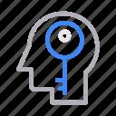 head, key, lock, mind, private icon