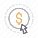 dollar, finance, money, online, payperclick icon