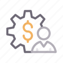 dollar, finance, profile, setting, user icon