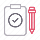 clipboard, document, edit, project, testing icon