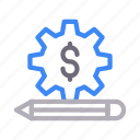 dollar, edit, project, setting, write icon