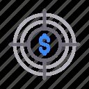 dollar, finance, focus, goal, target icon