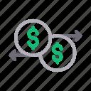 dollar, exchange, finance, money, transfer icon