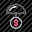 dollar, finance, insurance, money, umbrella icon