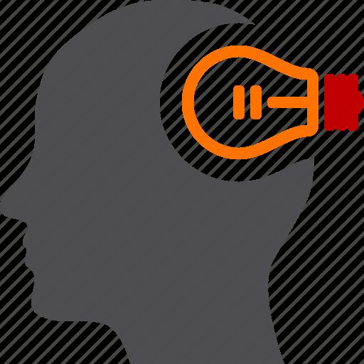 creative, head, idea, lightbulb, mind icon