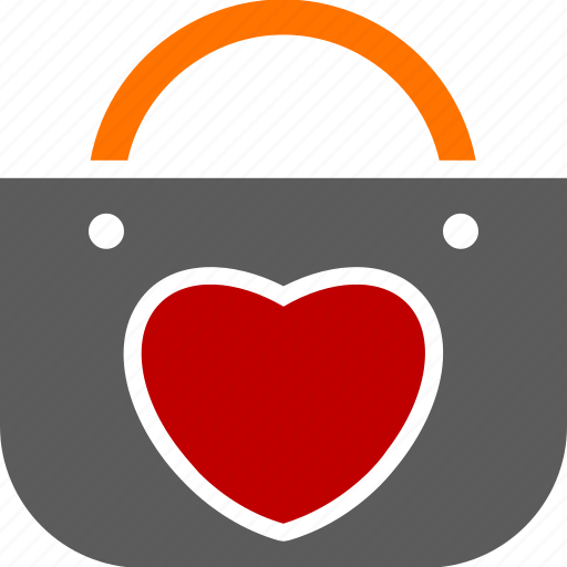 buying, heart, love, merchandise, purse, shopping icon