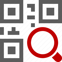 code, development, find, glass, magnifier, magnifying, qr, search, zoom icon