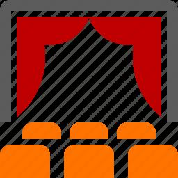 cinema, film, movie, presentation, stage, theatre icon