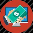 business, desktop, dollars, online, online money transfer