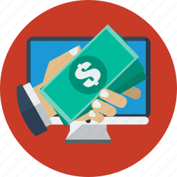 business, desktop, dollars, online, online money transfer icon