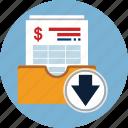 account, bill, download, finance, invoice, taxes icon
