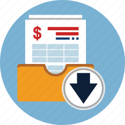 account, bill, download, finance, invoice, taxes icon