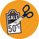 commerce, discount, price, promotion, scissor, sticker, tag icon