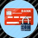 card, debit, finance, microchip, padlock, payments, secure icon