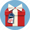 gift, label, present, promotion, ribbon, shopping, store icon