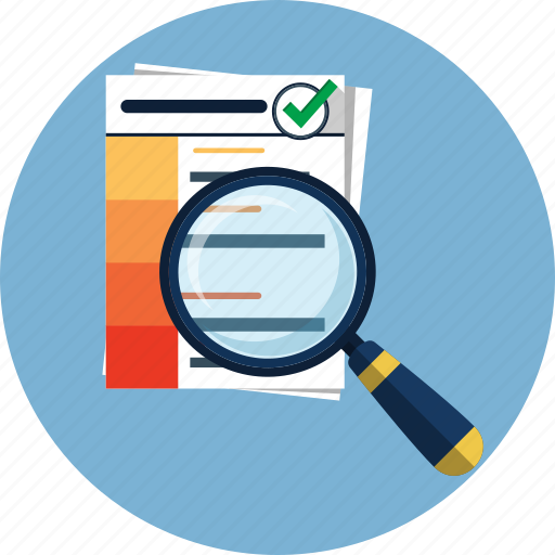 analysis, business, document, magnify, report, search, view icon