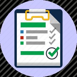 agreement, checklist, choice, feedback, notepad, ok, tick icon