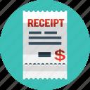 bill, coupon, marketing, money, receipt, shop icon