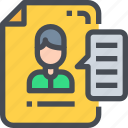 business, career, cv, document, page, resume icon