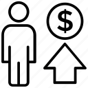 making money, money gain, revenue, revenue generated, sales revenue icon