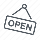 open, shopping, sign, store icon