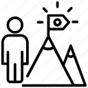 business achievement, flag on mountain, mission, success, victory icon