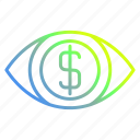 banking, business and finance, eye, money icon