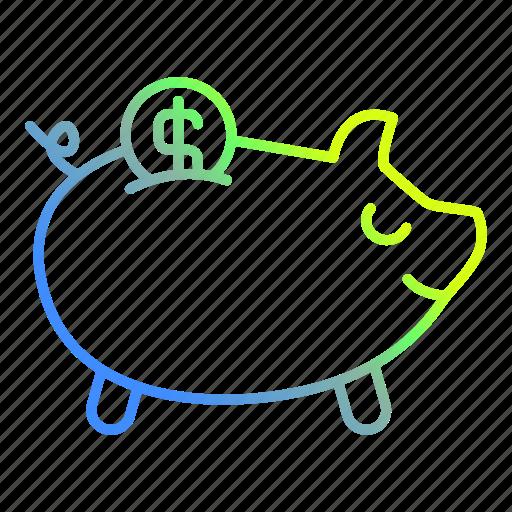bank, banking, credit, piggy, savings icon