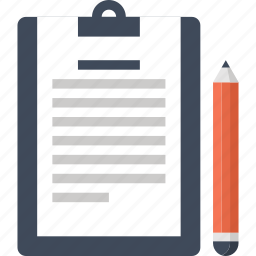 clipboard, document, file, notepad, pencil, plan, schedule, write icon