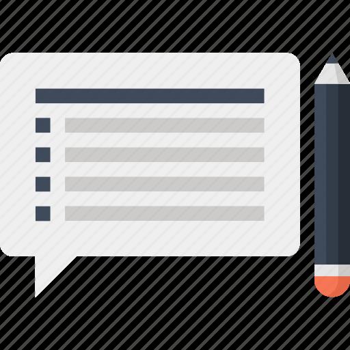 analytics, bubble, communication, customer, questionnaire, speech, survey icon