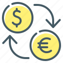 dollar, euro, exchange, finance, money, money exchange icon