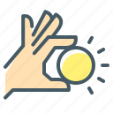 coin, hand, money icon