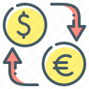 dollar, euro, exchange, money, money exchange icon