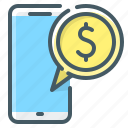 mobile, money, non-cash, payment, phone icon