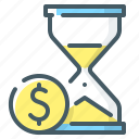 hourglass, money, sandglass, time, time is money icon