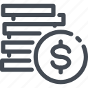coin, dollar, finance, money, stack icon