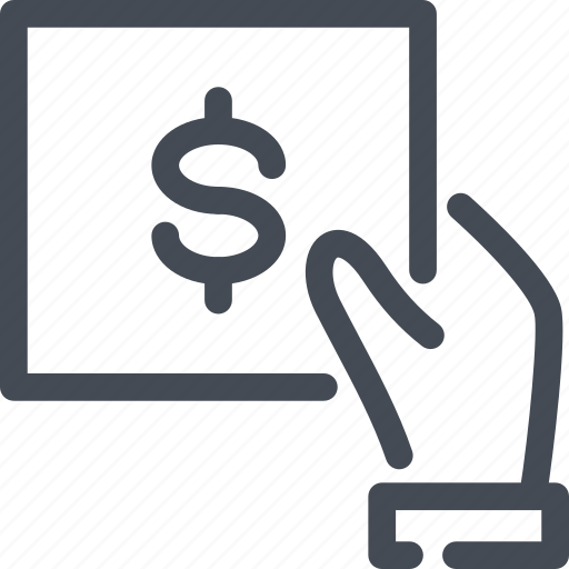 bill dollar finance hand hold invoice payment icon