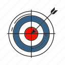 accuracy, arrow, dart, marketing, strategy, success, target icon