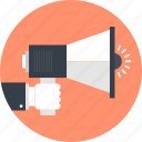 advertising, bullhorn, communication, loudspeaker, marketing, megaphone, promotion icon