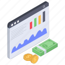 business analytics, financial data chart, financial statistics, investment report, online business report icon