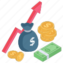 financial analytics, financial growth, income growth, income increase, revenue growth icon