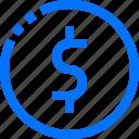 business, circle, coin, dollars, finance, money